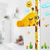 Baby Messlatte Höhe Diagramm für Kinderziemmer Dekoration, 3D beweglicher Giraffenkopf Höhenmesser Kindergarten Tier Wandabziehbild VON DUOUPA