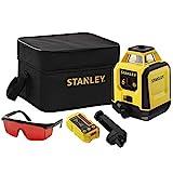 Stanley Rotationslaser DIY STHT77616-0 (roter Laser, vollautomatischer Horizontallaser, Rotationsgenauigkeit: +/- 6 mm/30 m, inkl. Empfänger, Zieltafel, Laserbrille, 2x Batterien, Tasche)