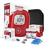 sinocare Blutzuckermessgerät, Diabetes-Set mit Blutzuckerteststreifen x 50, Schmerzfrei & Schnell, Wenig Probenvolumen (Safe AQ Smart) mg/dL