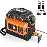 Massband Laser Entfernungsmesser 2 in 1, Tacklife 40m Massband und 5m Massband, 2 Laseröffnungs, HD- und LCD-Display, Selbsthemmend, Aktiver Haken, mit 2 AAA-Batterien und 1 Schraubendreher - TM-L01