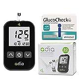 Adia Vorteilspack Blutzuckermessgerät-Set (mg) + 60 Blutzuckerteststreifen + 110 Lanzetten zur Überwachung des Blutzuckers
