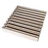 Zollstock Set 10 Stück zum Bestpreis. 10er Meterstab Set aus Buchenholz mit 2m länge, Lackierung Natur, farblos überlackiert, Skala mit Freileiste oben in MM. Made in Germany