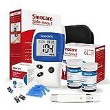 sinocare Safe Accu2 Blutzuckermessgerät, Diabetes-Set mit Blutzuckerteststreifen x 50, Schmerzfrei & Schnell, Wenig Probenvolumen- mg/dL